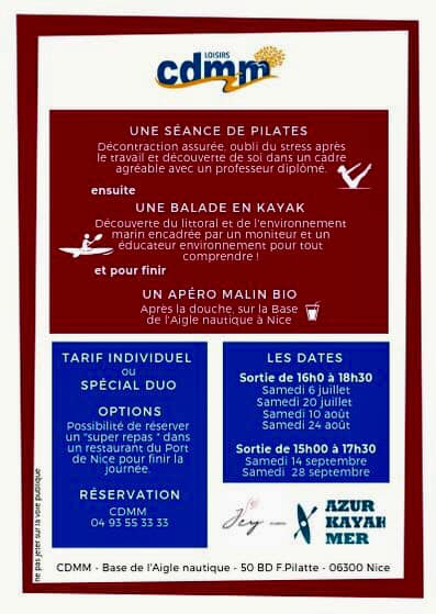 Pilatesand kayaking, follow-up of a bio discovery aperitif in France, all 2019 summer